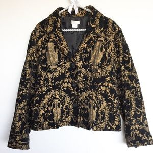 Christopher & Banks Elegant Black & Gold XL Jacket
